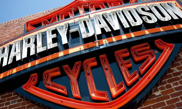 FILE - This Monday, July 16, 2012, photo, shows a sign for Harley-Davidson Motorcycles at the Harley-Davidsonstore  in Glendale, Calif. Harley-Davidson Inc. reports quarterly earnings on Thursday, Jan. 30, 2014. (AP Photo/Grant Hindsley, File)