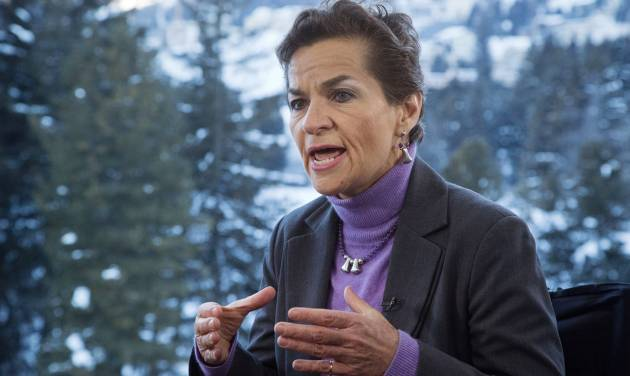 U.N. climate chief Christiana Figueres, speaks during an interview with the Associated Press at the World Economic Forum in Davos, Switzerland, Wednesday, Jan. 22, 2014, the opening day of the World Economic Forum where world's financial and political elite will meet in the upcoming days. (AP Photo/Michel Euler)
