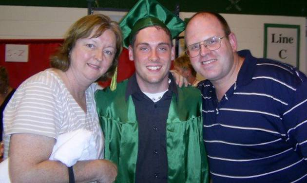 """This June 2007 family photo provided by the Weiler/Meyers family shows, Greg Weiler, center with his legal guardians, aunt Joanne Meyers, and uncle Chris Meyers at his high school graduation from Elk Grove High School, in Elk Grove Village, Ill. Wieler who has a a long history of mental illness has been charged with plotting to attack dozens of churches in Oklahoma with home made Molotov cocktails. Weiler's parents both committed suicide, and Weiler has battled drug addiction and """"a lot of mental illnesses"""" that led to a suicide attempt in the eighth grade, said his cousin Johnny Meyers. Meyers' parents served as legal guardians for Weiler after the death of his parents. He said family members in suburban Chicago believe Weiler must have stopped taking his medication and planned to go to Oklahoma to see him. (AP Photo/courtesy the Weiler/Meyers family)"""