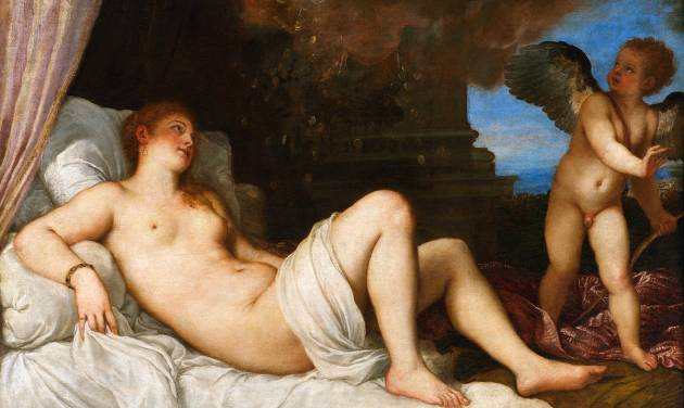 "This image provided via The National Gallery of Art shows Titian's ""Danaë."" The Italian Renaissance painting rarely seen in the United States will be displayed at the National Gallery of Art in Washington to mark the start of Italy's presidency of the European Union. The museum announced June 18, 2014, that the paitning will be on view July 1 through Nov. 2. It was painted in 1544 to 1545 as a depiction of erotic mythologies.(AP Photo/The National Gallery of Art via Superintendency of Cultural Heritage for the City and the Museums of Naples and the Royal Palace of Caserta/Luciano Basagni, Fabio Speranza)"