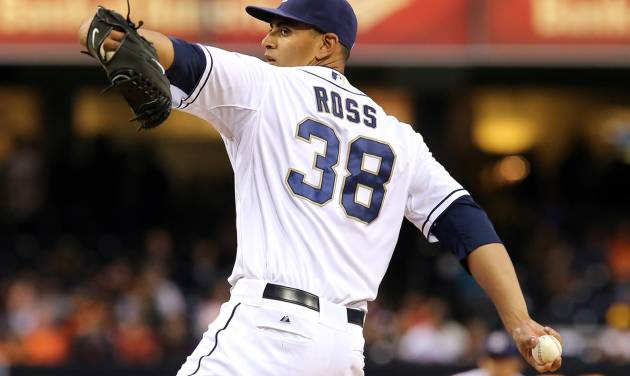 San Diego Padres starting pitcher Tyson Ross delivers in the first inning of a baseball game against the San Francisco Giants, Friday, April 18, 2014, in San Diego. (AP Photo/Don Boomer)