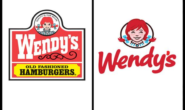 This combination of undated images provide by Wendy's show the fast food company's original logo, left, and new logo, right. For the first time since 1983, the Dublin, Ohio-based fast food company announced it is updating its logo on Thursday, Oct. 11, 2012. In a move intended to signal its ongoing transformation into a higher-end hamburger chain, instead of the boxy, old-fashioned lettering against a red-and-yellow backdrop, the pared down new look features the chain's name in a casual red font against a clean white backdrop. (AP Photo/Wendy's)