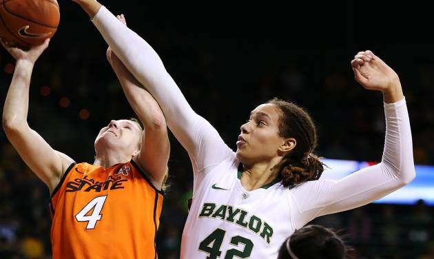 Baylor's Brittney Griner (42) pressures Oklahoma State's Liz Donahoe (4) during the first half of their NCAA college basketball game, Sunday, Jan. 6, 2013, in Waco, Texas. (AP Photo/The Waco Tribune-Herald, Rod Aydelotte) ORG XMIT: TXWAC101