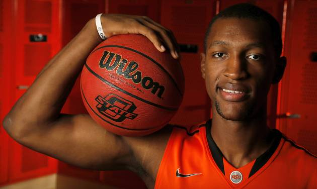 OSU men's basketball player Kamari Murphy (21) poses for a photo during basketball media day for Oklahoma State University at Gallagher-Iba Arena in Stillwater, Okla., Monday, Oct. 22, 2012. Photo by Nate Billings, The Oklahoman