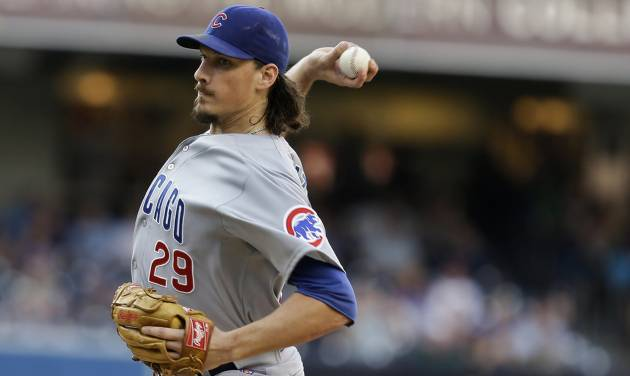 Chicago Cubs starting pitcher Jeff Samardzija works against the San Diego Padres in the first inning of a baseball game, Saturday, Aug. 24, 2013, in San Diego. (AP Photo/Lenny Ignelzi)