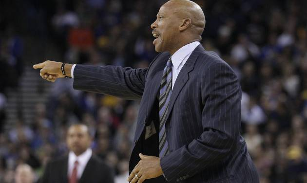 Cleveland Cavaliers head coach Byron Scott points during the second quarter of an NBA basketball game against the Golden State Warriors in Oakland, Calif., Wednesday, Nov. 7, 2012. The Warriors won 106-96. (AP Photo/Jeff Chiu) ORG XMIT: OAS112