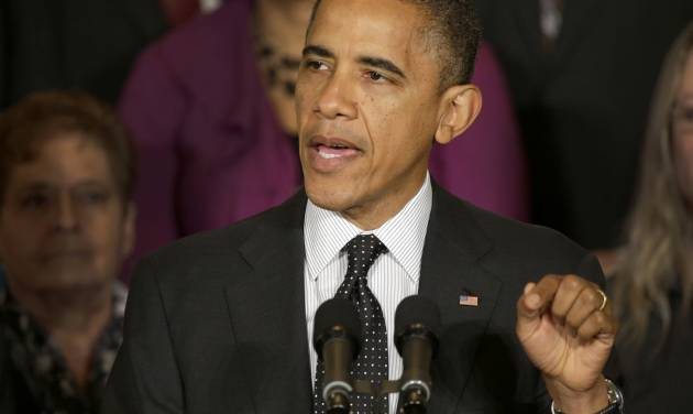 President Barack Obama gestures as he speaks about the economy and the deficit, Friday, Nov. 9, 2012, in the East Room of the White House in Washington. (AP Photo/Pablo Martinez Monsivais)