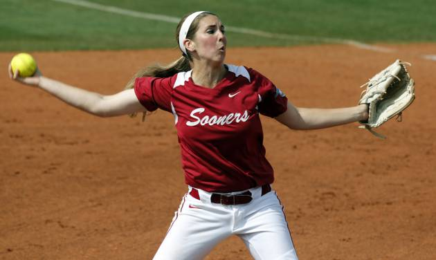 Oklahoma's Kelsey Stevens pitches as the University of Oklahoma Sooner (OU) softball team plays Tennessee in game two of the NCAA super regional at Marita Hynes Field on May 24, 2014 in Norman, Okla. Photo by Steve Sisney, The Oklahoman