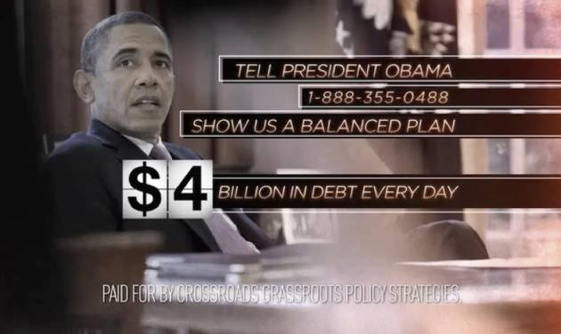 "This still image from video released by Crossroads Grassroots Policy Strategies shows a frame from their ad on the ""fiscal cliff."" Picking up where the wall-to-wall election ads left off, debate over the ""fiscal cliff"" has money pouring into television, print, radio and online advertising. As Republicans and the White House joust over big tax increases and spending cuts, outside groups on both sides weigh in with major campaigns aimed at politicians and voters alike. (AP Photo/ Crossroads Grassroots Policy Strategies)"