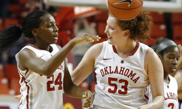 Oklahoma Sooner's Joanna McFarland (53) congratulates Sharane Campbell (24) after a rebound and is fouled with seconds remaining during the second half as the University of Oklahoma Sooners (OU) defeat the West Virginia Mountaineers 71-68 in NCAA, women's college basketball at The Lloyd Noble Center on Wednesday, Jan. 2, 2013  in Norman, Okla. Photo by Steve Sisney, The Oklahoman