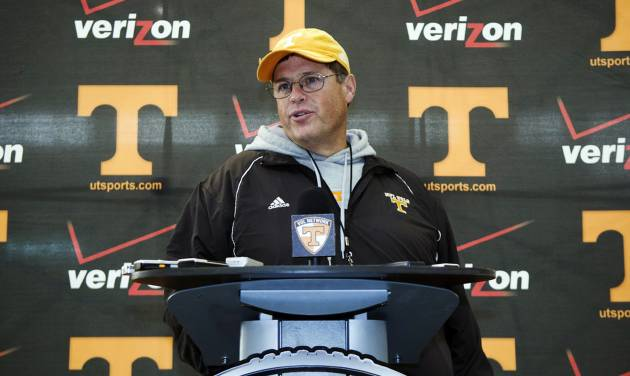 Tennessee interim head coach Jim Chaney speaks during a news conference after NCAA college football practice, Monday, Nov. 19, 2012, in Knoxville, Tenn. Chaney, who worked Tennessee's first 11 games from the press box as offensive coordinator, was named interim coach after Derek Dooley was fired Sunday. (AP Photo/The Knoxville News Sentinel, J. Miles Cary)