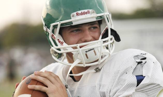 Jones quarterback David Cornwell during a high school football scrimmage between Bethany and Jones on August 22, 2012. Photo by Doug Hoke, The Oklahoman.