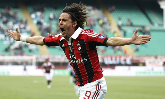 FILE - In this Sunday, May 13, 2012 file photo, AC Milan forward Filippo Inzaghi celebrates after scoring during a Serie A soccer match between AC Milan and Novara, at the San Siro stadium in Milan, Italy. Real Madrid's Champions League winning coach, Carlo Ancelotti, has backed former player Filippo Inzaghi as the ideal candidate to take over as manager of AC Milan. (AP Photo/Luca Bruno, File)