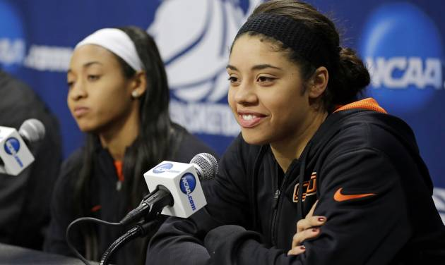 Oklahoma State guard Brittney Martin, right, listens to a question as guard Tiffany Bias sits near during an NCAA college basketball tournament news conference in West Lafayette, Ind., Sunday, March 23, 2014. Oklahoma State faces Purdue in a second round game on Monday. (AP Photo/Michael Conroy)