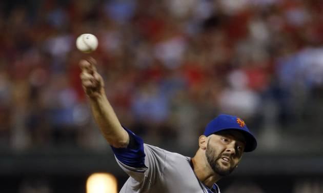 New York Mets' Dillon Gee pitches during the third inning of a baseball game against the Philadelphia Phillies, Saturday, Aug. 9, 2014, in Philadelphia. (AP Photo/Matt Slocum)