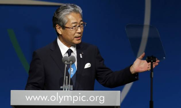 Tsunekazu Takeda,  President of Tokyo 2020 Olympic Bid Committee,  speaks during the Tokyo 2020 bid presentation during the International Olympic Committee session in  Buenos Aires, Argentina, Saturday, Sept. 7, 2013.  Tokyo, which is making its second consecutive bid, in a race against Madrid and Istanbul, has earmarked a reserve fund of 400 billion yen ($4 billion) for the 2020 Games. Madrid is bidding for the third time in a row, while Istanbul is trying for the fifth time overall. (AP Photo/Natacha Pisarenko)