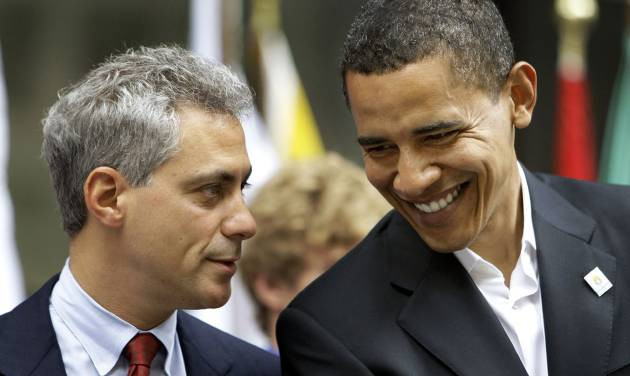 In this  June 6, 2008,, file photo Rep. Rahm Emanuel, D-Ill., left, talks with Democratic presidential candidate Sen. Barack Obama D-Ill., at a Chicago 2016 Olympic rally at Daley Center Plaza in Chicago. Obama's campaign has approached Illinois Rep. Rahm Emanuel about possibly serving as White House chief of staff, officials said Thursday, Oct. 30, 2008. (AP Photo/Alex Brandon, File)