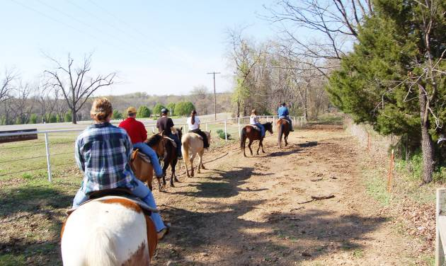 Riders follow the trail at Sequoyah State Park near Wagoner. Trail rides are offered by Sequoyah Riding Stables.STATE TOURISM PHOTO