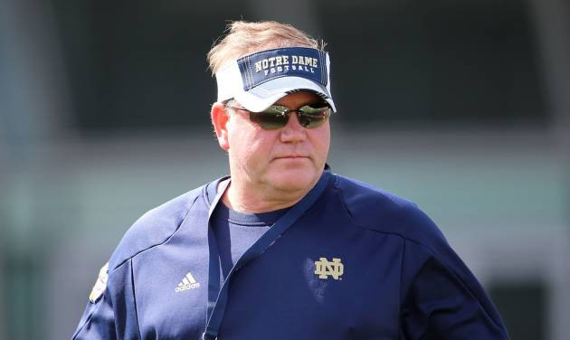 Notre Dame Head Football Coach Brian Kelly during a training session at the Aviva Stadium, Dublin, Ireland, Thursday, Aug. 30, 2012.  American college football team Notre Dame play the Navy team on Saturday in Dublin.  (AP Photo/Peter Morrison) ORG XMIT: XPM107