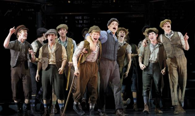 """In this theater image released by Disney Theatricals, the cast of The Paper Mill Playhouse Production of """"Newsies,"""" starring Jeremy Jordan, center right, is shown in New York. The production The production is nominated for best musical at the Tony Awards, airing Sunday, June 10 on CBS. (AP Photo/Disney Theatricals, T. Charles Erickson)"""