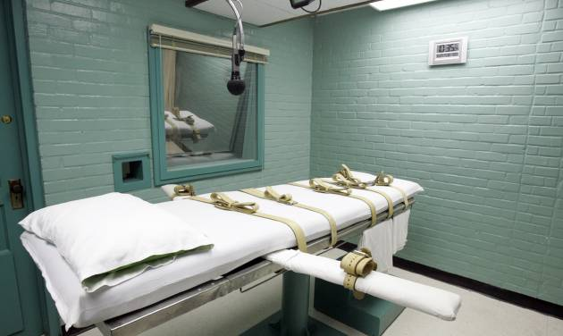 FILE - This May 27, 2008, file photo, shows the gurney in the death chamber in Huntsville, Texas. Texas is paying four times more for its execution drugs from a new supplier, putting it in line with a local consumer rate but well below the cost in at least one other death penalty state. Documents obtained by The Associated Press show the state paid $13,500 for its most recent batch of pentobarbital at a cost of $1,500 per vial. This compares to $350 per dose paid last year to a previous supplier that cut ties after backlash from death penalty opponents. (AP Photo/Pat Sullivan, File)