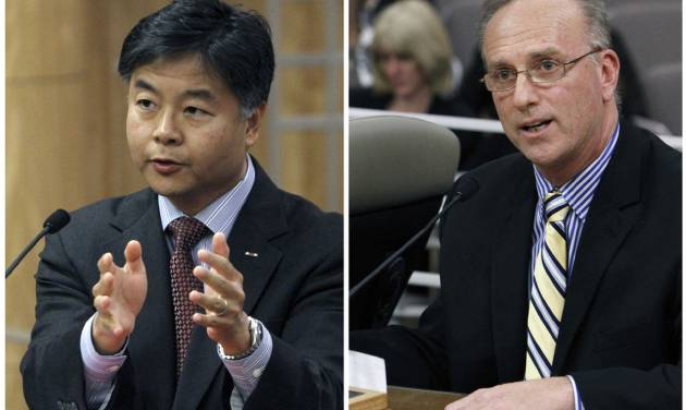 FILE - In this combo image made of May 8, 2012, file photos, State Sen. Ted Lieu, D-Torrance, left, and David Pickup, a licensed marriage and family therapist, address lawmakers in favor and in opposition, respectively, of a bill to ban a controversial form of psychotherapy aimed at making gay people straight during a hearing at the Capitol in Sacramento, Calif. A federal appeals court on Friday put the brakes on a first-of-its-kind California law that bans therapy aimed at turning gay minors straight. The law was set to take effect Jan. 1. (AP Photo/Rich Pedroncelli, File)