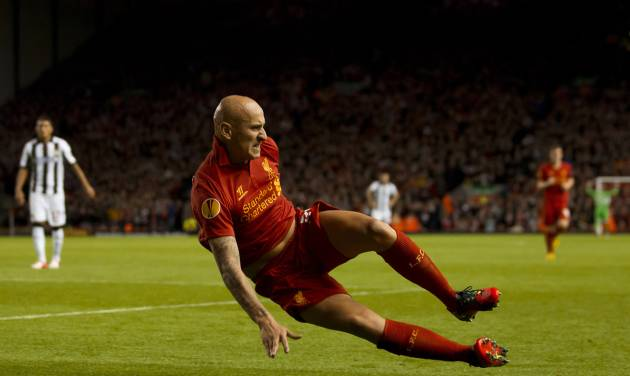 Liverpool's Jonjo Shelvey celebrates after scoring against Udinese, during their Europa League Group A soccer match at Anfield Stadium, Liverpool, England, Thursday Oct. 4, 2012. (AP Photo/Jon Super)
