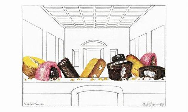 "This undated image shows artist Nancy Peppin's ""The Last Snack,"" modeled after Leonardo da Vinci's ""The Last Supper,'' one of thedozens of pieces of art Nancy Peppin has created over the years using Twinkies and other Hostess products. A graphic artist by day for slot machine-maker International Game Technology, Peppin doesn't like to eat Twinkies. She uses them to depict popular culture similar to Any Warhol. (AP Photo/Courtesy Nancy Peppin)"