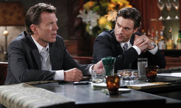 """This image released by CBS shows Peter Bergman, left, and Daniel Goddard in a scene from """"The Young & The Restless."""" The daytime drama series is ahead of the pack with 26 Daytime Emmy nominations, including best daytime drama. The television academy announced the nominations on Thursday, May 1, 2014. (AP Photo/CBS, Sonja Flemming)"""