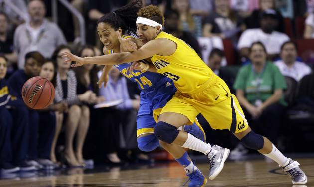 UCLA's Mariah Williams (14) and California's Layshia Clarendon chase a loose ball in the first half of an NCAA college basketball game in the Pac-12 Conference tournament Saturday, March 9, 2013, in Seattle. (AP Photo/Elaine Thompson)