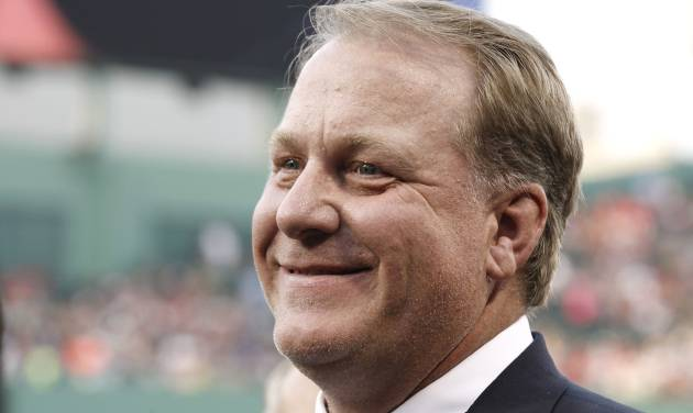 FILE - This Aug. 3, 2012 file photo shows former Boston Red Sox pitcher Curt Schilling after being introduced as a new member of the Boston Red Sox Hall of Fame at Fenway Park in Boston. Schilling announced Wednesday, Feb. 5, 2014 that he is battling cancer. (AP Photo/Winslow Townson, file)