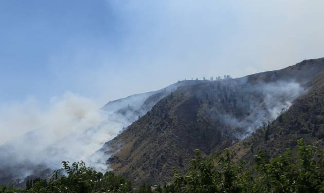 Smoke rises from the area of a wildfire near Entiat, Wash., Friday, July 11, 2014. Several hundred firefighters worked Friday to contain the fire that has burned grass and brush across nearly 30 square miles in central Washington. (AP Photo/Rachel La Corte)