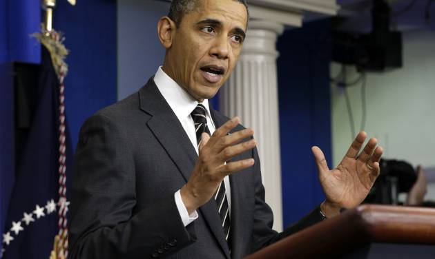 President Barack Obama gestures as he speaks in the James Brady Press Briefing Room of the White House in Washington, Tuesday, Feb. 5, 2013. The president asked Congress to come up with tens of billions of dollars in short-term spending cuts and tax revenue to put off the automatic across the board cuts that are scheduled to kick in March 1. (AP Photo/Pablo Martinez Monsivais)
