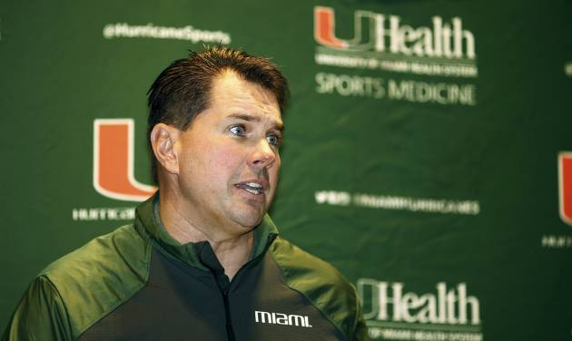Miami coach Al Golden talks during an NCAA college football new conference, Monday, Jan. 6, 2014, in Miami. He said that he has been pursued by other programs, doing so while reaffirming his commitment to the Hurricanes and refusing to discuss his reported candidacy at Penn State. Golden played under Joe Paterno for the Nittany Lions and served as a team captain. (AP Photo/J Pat Carter)