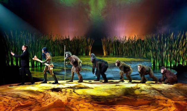 """This undated theater image released by Cirque du Soleil shows a scene from """"Totem,"""" a show that traces the journey of the human species from its original amphibian state. The show will open March 14 at Citi Field, home of the New York Mets. (AP Photo/Cirque du Soleil)"""