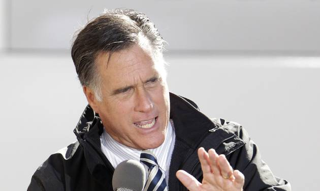 Republican presidential candidate, former Massachusetts Gov. Mitt Romney speaks at a campaign stop at Bun's Restaurant, Wednesday, Oct. 10, 2012, in Delaware, Ohio. (AP Photo/Jay LaPrete)