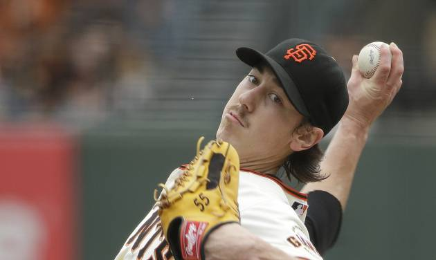San Francisco Giants starting pitcher Tim Lincecum throws against the San Diego Padres in the first inning of their baseball game Wednesday, June 25, 2014, in San Francisco. (AP Photo/Eric Risberg)
