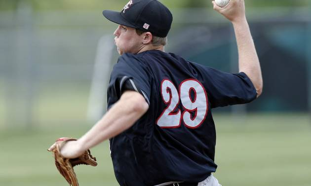 Carl Albert's Gavin Lavalley pitches during the 5A high school baseball state championship tournament at Edmond Memorial High School in Edmond, Okla.,  Friday, May 10, 2013. Photo by Sarah Phipps, The Oklahoman