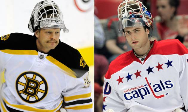 FILE - At left, in a Jan. 24, 2012 file photo, Boston Bruins goalie Tim Thomas skates onto the ice during the team's warmups prior to their NHL hockey game against the Washington Capitals, in Washington. At right, in a March 19, 2012 file photo, Capitals goalie Braden Holtby is shown prior to an NHL game against the Detroit Red Wings, in Detroit. Holtby, a veteran of just 21 NHL games, is expected to be in net for the Capitals when they open their first-round playoff series against defending champion Boston. The Bruins will go with Thomas, last year's Stanley Cup MVP. (AP Photo/File)