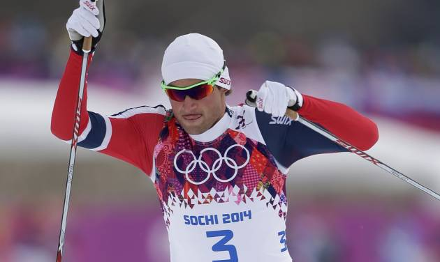 Norway's Petter Northug competes in the men's qualification of the cross-country sprint at the 2014 Winter Olympics, Tuesday, Feb. 11, 2014, in Krasnaya Polyana, Russia. (AP Photo/Matthias Schrader)