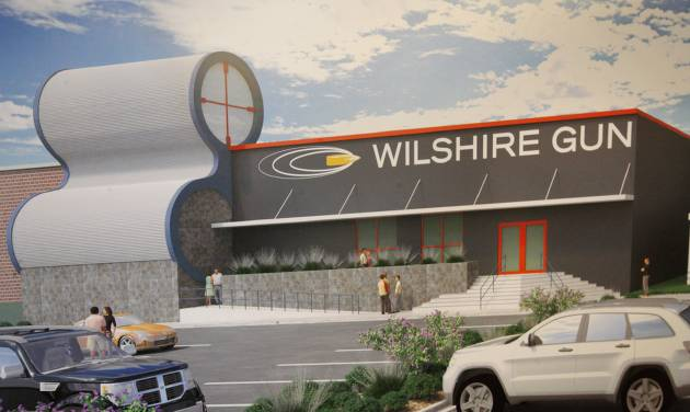 An artist rendering of Wilshire Gun under construction in the 600 block of W Wilshire Blvd. in Oklahoma City. The shooting ranges will be in a building that once served as a grocer's warehouse. Photos by Paul B. Southerland, The Oklahoman   PAUL B. SOUTHERLAND -  PAUL B. SOUTHERLAND