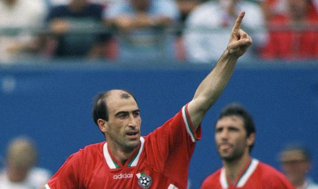 FILE - In this July 10, 1994 file photo, Bulgaria's Iordan Letchkov, foreground,  celebrates after scoring the winning goal in a 2-1 victory against Germany in the World Cup quarterfinal soccer match at Giants Stadium, East Rutherford, N.J. In the background is Bulgaria's Hristo Stoitchkov,  who scored Bulgaria's first goal. On this day: For the first time since 1978, there would be no Germany in the World Cup final, after Bulgaria defeated the defending champion 2-1. (AP Photo/Michael Probst, File)