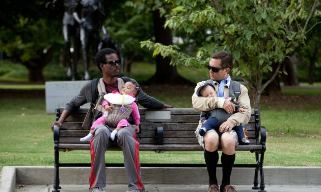 """In this film image released by Lionsgate, Chris Rock, left, and Tom Lennon are shown in a scene from """"What to Expect When You're Expecting."""" (AP Photo/Lionsgate, Melissa Moseley)"""