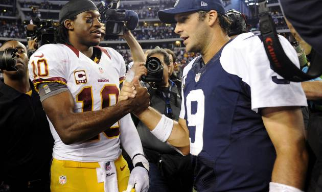 ADVANCE FOR WEEKEND EDITIONS, DEC. 29-30 - FILE - In this Nov. 22, 2012, file photo, Washington Redskins quarterback Robert Griffin III (10) and Dallas Cowboys quarterback Tony Romo (9) greet after the Redskins won 38-31 in an NFL football game in Arlington, Texas. The Cowboys and  Redskins have played 103 times, but rarely have the stakes been this high. On Sunday, the winner gets the NFC East. The loser stays home for the playoffs, or maybe gets a wild card berth if things go just right.  (AP Photo/Matt Strasen, File) ORG XMIT: NY187