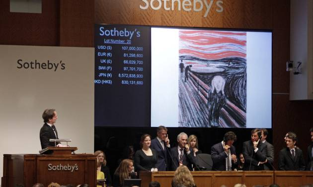 """Edvard Munch's """"The Scream"""" is auctioned at Sotheby's Wednesday, May 2, 2012, in New York. The image is one of four versions created by the Norwegian expressionist painter. Three are in Norwegian museums. The one at the Sotheby's auction is the only one left in private hands and is being sold by Norwegian businessman Petter Olsen, whose father was a friend and patron of the artist. The hammer price was $107 Million with the buyers premium is $119,922, 500. (AP Photo/Frank Franklin II)"""