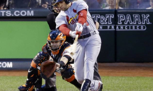 St. Louis Cardinals' Carlos Beltran hits a two-run home run during the fourth inning of Game 1 of baseball's National League championship series against the San Francisco Giants Sunday, Oct. 14, 2012, in San Francisco. (AP Photo/Mark Humphrey)