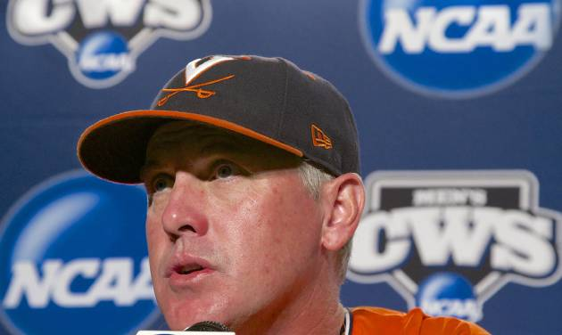 Virginia coach Brian O'Connor speaks to reporters at a news conference, Sunday, June 22, 2014, in Omaha, Neb. The NCAA baseball College World Series finals between Virginia and Vanderbilt begin on Monday. (AP Photo/Nati Harnik)