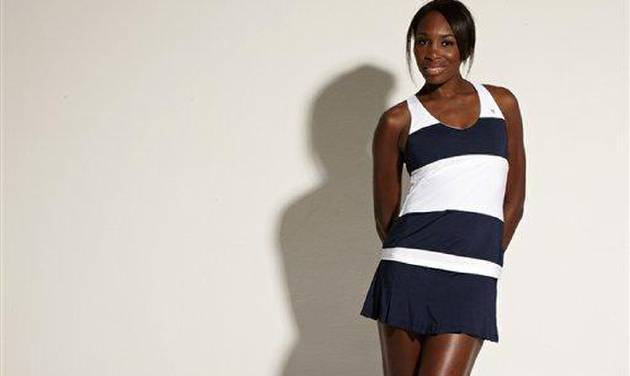 This undated image released by EleVen By Venus Williams shows professional tennis player and fashion designer Venus Williams wearing a Blue Slice Tank from the EleVen By Venus Williams Summer 2013 collection available April 15 at select retailers, Country Clubs and Boutique tennis shops. (AP Photo/EleVen By Venus Williams)