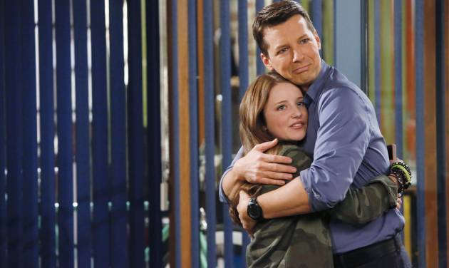 "This publicity image released by NBC shows Samantha Isler as Ellie, left, and Sean Hayes as Sean in ""Sean Saves The World,"" premiering Oct. 3 at 9 p.m. EST. (AP Photo/NBC, Vivian Zink)"