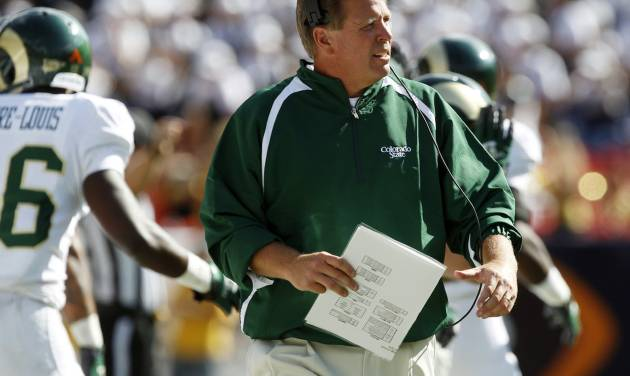 Colorado State head coach Jim McElwain directs his team in his coaching debut against Colorado in the third quarter of an NCAA college football game in Denver on Saturday, Sept. 1, 2012. (AP Photo/David Zalubowski)